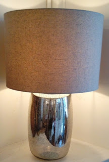 DaVinci Glass Lamp with Linen Drum shade