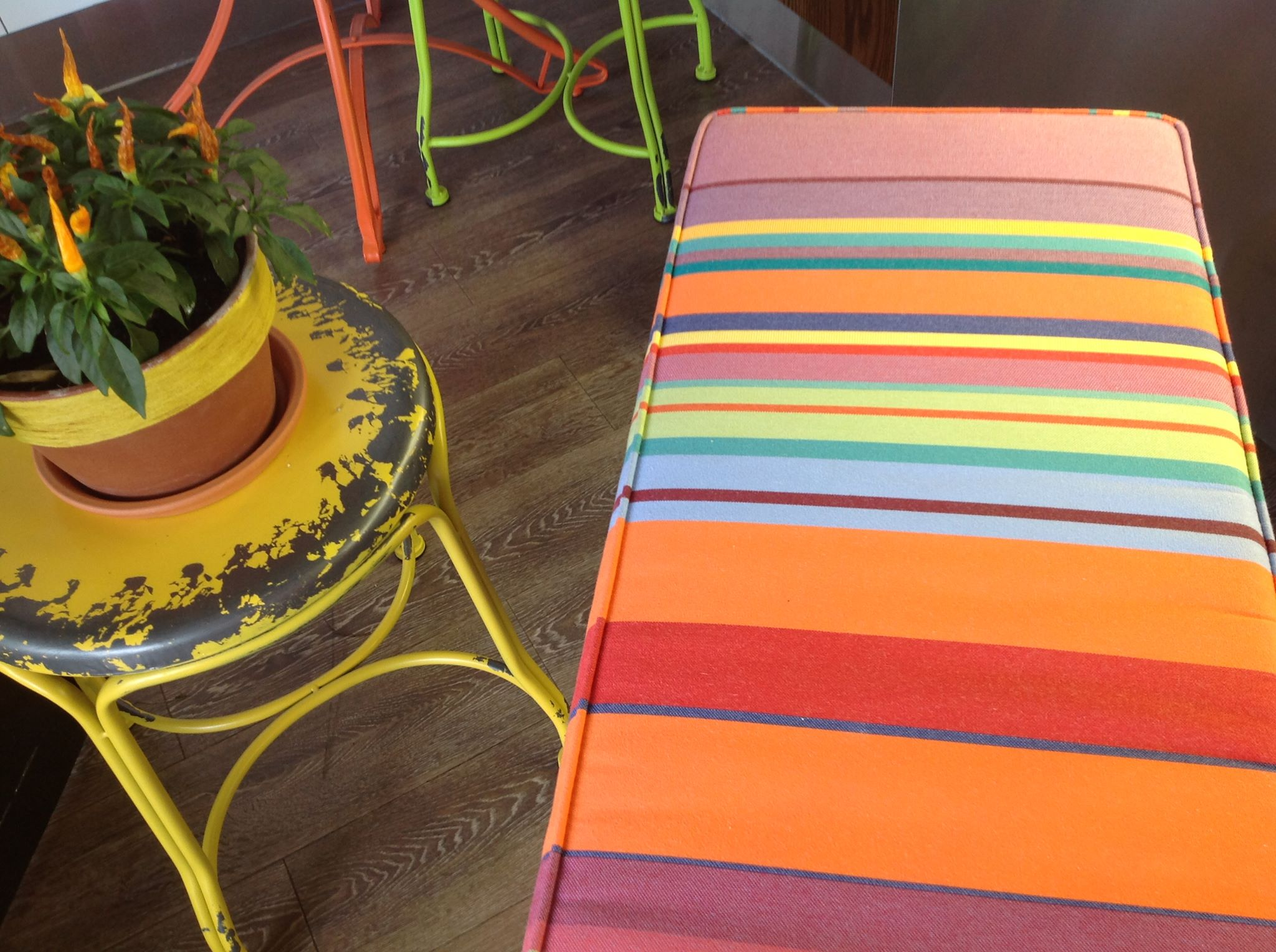 donu0027t you love these bench seat cushions in ici et la stripe we made for amazing new foodstore simply baked in railway walk